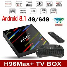 4GB/64GB H96 MAX Plus+ Android 8.1 Smart TV Box Quad Core WIFI USB3.0 Keyboard F