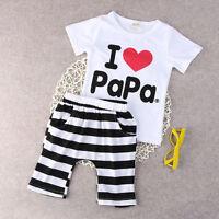 2PCS Baby Boys Girls Summer Outfits Toddler Top Shirt Pants Shorts Clothes Set