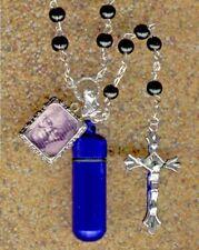 K6Z,Rosary,,Blue Urn,Memorial Urn,Keepsake Urn,Cremation Urn,Small Urn