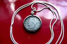 """USA 1883-1912  LIBERTY NICKEL on a 30"""" 925 Sterling Silver Snake Chain"""