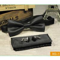 3pcs Men matching set  Wedding Kingsquare Bow tie pocket square and cufflinks