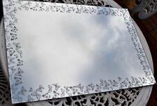 Large 60cm Silver butterflies Glass Art Wall Mirror Butterfly Glitter Bathroom