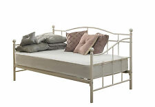 Venice Single Metal Day Bed 3ft in White Quilted Mattress