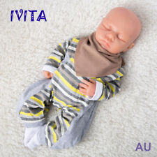 IVITA Lifelike 18'' Eyes Closed Silicone Reborn Baby Girl Realistic Doll 3.2kg