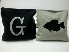 Custom Single Initial Monogrammed / Fish Silhouette Fishing Cornhole Toss Bags