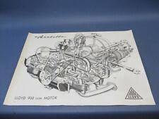 Lloyd Arabella 900 ccm Motor & Getriebe Zeichnung, Skizze 59,5 cm x 83,8 cm