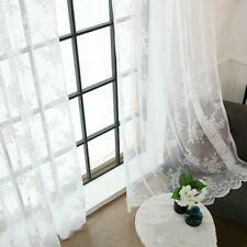 Embroidery Curtain Fabric Pelmets Net Lace Voile Flower Window Panel French Chic