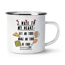 3 Ways To My Heart Retro Enamel Mug Cup - Funny Food Joke Camping