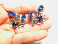 Retro Light Dark Blue Prong Set Rhinestone Flower Spray Clip On Earrings Vintage