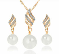 Plated Jewelry Silver Women Set Earrings Fashion Pearl Necklace Crystal Pendant