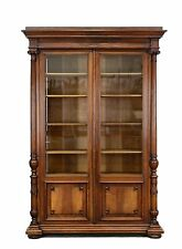 Large Antique French Renaissance Carved 2 Door Bookcase Cabinet