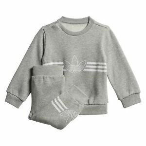 adidas Originals infant/baby grey Outline crew neck suit. Ages 0-3 years