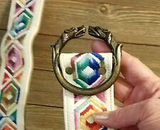 Vintage Embroidered Belt Brass Wolf or Jackle Belt buckle Hippie Bohemian Medium