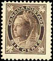 Canada #71 mint F-VF OG NH 1897 Queen Victoria 6c brown Maple Leaf CV$392.50
