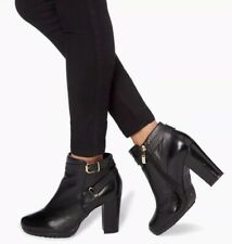 "Women's Dune ""Puggy"" Black Leather Heeled Ankle Boots. 41/8 Boxed £130"