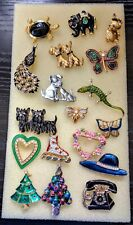 VINTAGE VARIOUS   BROOCH PINS..LOT OF 17  GOOD OVERALL VINTAGE CONDITION