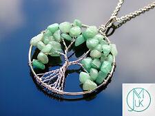 Handmade Aventurine Tree of Life Natural Gemstone Pendant Necklace 50cm Chakra