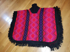 VTG Poncho Fringe Sweater Red Black Purple Aztec Blanket Boho One Size