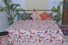 White tropical cotton Quilt Kantha Bedspread, Bird pattern comforter.King Size