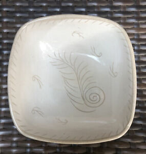Vintage Glidden Pottery Square Bowl 270 Feather