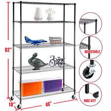 """82""""x48""""x18"""" Heavy Duty 5 Tier Adjustable Layer Wire Shelving Rack Steel Shelf"""