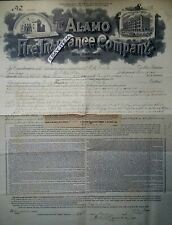 1893 Q F WALKER Eagle Lake Texas F Groos ALAMO FIRE INSURANCE POLICY San Antonio