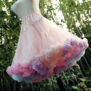 Women Girls Rainbow Petticoat Crinoline Tutu Skirt Sweet Lolita Underskirt