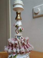Marked Antique Bohne Dresden Lace Porcelain Lamp Ballerina Dancer C 1900