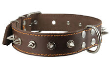 """Genuine Leather Dog Collar Spiked Brown 17""""-22"""" neck 1.5"""" wide Amstaff Pittbul"""