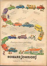 1950's Vintage ad for Howard Johnson's Art Cartoon Cars red Yello  (062319)