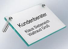 Floatglas Tischaufsteller Namensschild Glasaufsteller Büroschild Empfangsschild