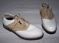 Women's size 7 1/2 6231 FOOTJOY White Tan Leather Golf Shoes Soft Spikes SIERRA