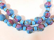 "CHINESE EXPORT HAND PAINTED ROSES ASYMMETRIC BLUE PORCELAIN BEAD 30"" NECKLACE"