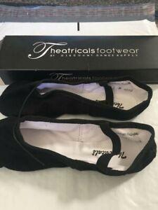 Black Ballet Split Sole Shoe Slipper Theatricals Footwear Size 3