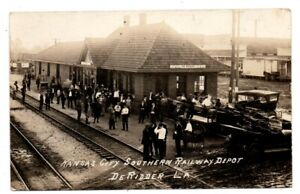 LA Louisiana DeRidder Railroad Train Station Beauregard Parish Postcard RPPC