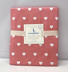 NEW Pottery Barn KIDS Organic Heart TODDLER Duvet Cover~Coral