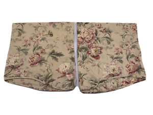 Pair of Waverly Classics Curtain Valences Beige Floral Roses 21 x 78 Rod Pocket