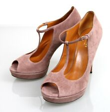 New Authentic Gucci Suede BETTY T-Strap Platform Pumps, Pink, 39/9, 269713