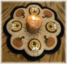 PATTERN~Little Pilgrims~Thanksgiving~Turkey Pumpkin Penny Rug/Candle Mat