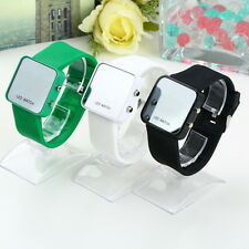 Multicolor Men women Mirror LED Silicone Band Digital Sport Wrist Watch IR