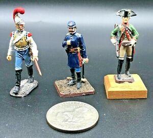 3 Vintage Metal Lead Napoleonic EK & Cavalier Civil War Union Toy Soldiers 54mm