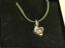 """Music Note TG45 English Pewter On 18"""" Green Cord Necklace"""