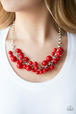 Paparazzi jewelry bubbly red beads silver chain Necklace w/earring