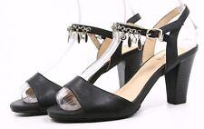 PINKII Heels Shoes Womens 6 Silver Tone Charm Cuff Peep Toe Dress Sandals Black