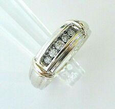 HEAVY 14k Two Tone Gold 5 Natural Diamond Mens Wedding Band Ring 0.25 Ct