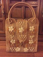 Vintage 1970s Wicker Straw Flower Bag