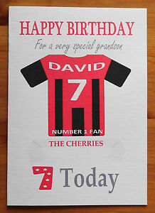 """BOURNEMOUTH FAN Unofficial PERSONALISED Football Birthday Card (""""THE CHERRIES"""")"""