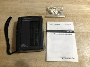 Vintage 1992 Realistic CTR-24 Compact Cassette Tape Recorder, Earphones, Manual
