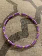 handmade beaded bracelet: purple & gold😚🟣
