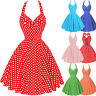Retro Vintage Polka Dot Swing 1950s Housewife Pin Up Evening Party Halter Dress
